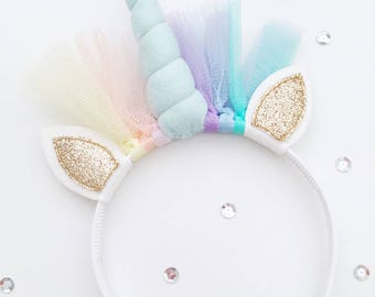 Unicorn Diadeem, Pastelblauw hoorntje, Goudglitter oortjes, 24cm hoog, 20cm breed, Decoration, Kids room, Wholesale