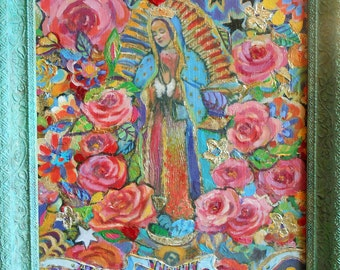 "Our Lady of Guadalupe 16"" x 20"" Highly Textured Framed Acrylic Painting"