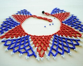 Red and Blue Collar necklace,South African Beaded Necklace,USA flag necklace,France Flag Necklace,Statement Beaded Collar,Beaded Jewelry