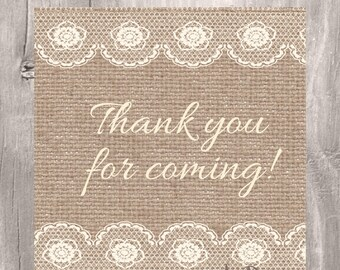 Burlap and Lace Printable Baby Shower Favor Tags, Burlap Thank You Tag for Baby Shower or Bridal Shower, Printable Tags, Instant Download