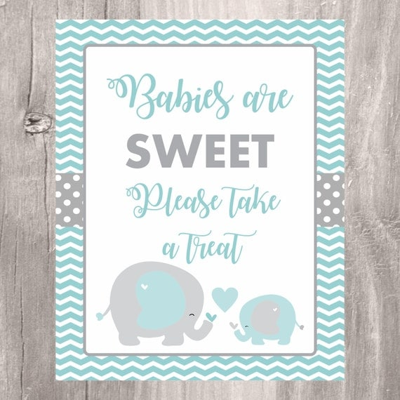 Elephant Baby Shower Printable Sign Babies Are Sweet Please Take A