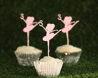 Ballerina & number cupcake toppers