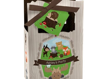 Woodland Favor Boxes - Personalized Woodland Creatures Baby Shower or Birthday Supplies - Woodland Animals Treat Boxes with Tag - 12 ct.