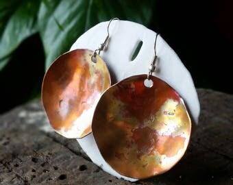 Hammered copper earrings, Circle earrings, Flame painted, Handmade earrings, Textured copper, Bohemian,Wearable Art