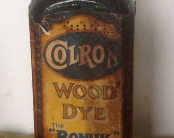 Vintage Green Glass Bottle With Label. Colron Wood Dye - Ronuk Stain. 1930's-1950's.