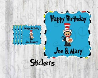 Dr. Seuss Stickers/Birthday Stickers/ Cat In The Hat Stickers/Cat in the hat party/Boy Party/Girl Party