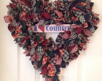 Rag Wreaths, Door Wreaths, Heart Rag Wreaths, Fall Wreath, Handmade Wreaths, Holiday Wreath, Welcome Wreath, Homespun Wreath, Country Shabby