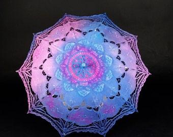 Light Up Parasol | COTTON Pink/Blue w Ultra Violet LEDs