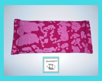 Flax Seed Eye Pillow, Lavender Eye Pillow, Yoga Eye Pillow, Savasana,Eye Compress, Raspberry Pink Batik