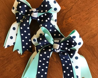Shorty Hair Bows for Horse Shows/Blue Hair Accessory, Aqua