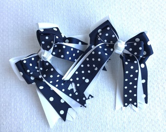 Shorty Hair Bows for Horse Shows/Navy Blue Hair Accessory/Equestrian Clothes, Gift