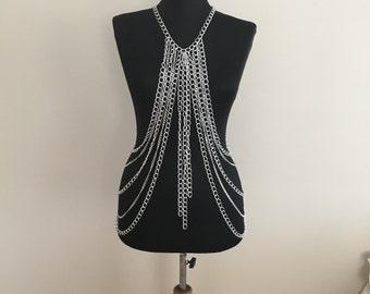 Body Chain, Silver Body Chain, Silver Body Necklace, Body Jewelry, Silver Body Harness, BDC1060-01