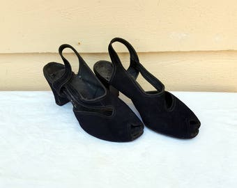 Women's Vintage 1940's Black Suede Shoes Size 5 1/2