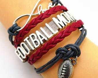 Gray and Red Football Mom Bracelet