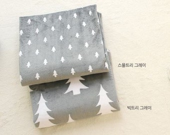White Tree Minky Fabric Grey by Yard - 2 Pattern Selection