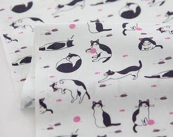 Cats Pattern Digital Printing Cotton Fabric by Yard