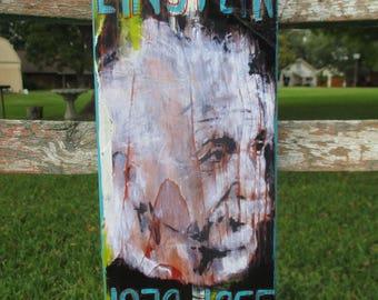 Albert Einstein mixed media art, theoretical physicist, physics, Einstein art, Einstein painting, science class room, science gift