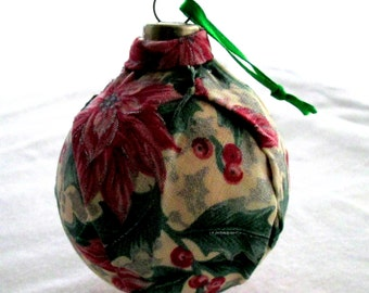 Fabric covered glass ornament EBC0005