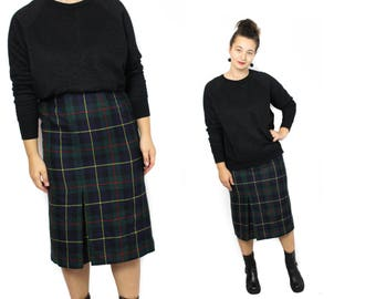 Plaid skirt, Tartan skirt, Midi skirt, Kilt skirt, Vintage skirt, 70s skirt, Green wool skirt, High waisted skirt, Plaid skirt / Medium