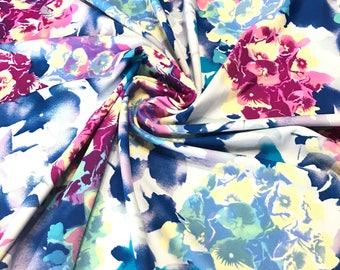 Blue & Purple Floral Bouquet Swim Nylon Spandex Fabric, Swimwear Fabric Athletic Fabric, Legging Fabric, BTY By The Yard