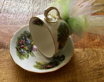 Green, floral, garden - Vintage teacup bird feeder (Royal Vale, Cottage Garden)
