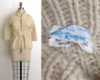Vintage 1970s Holt Renfrew sweater // 70s designer cable knit sweater