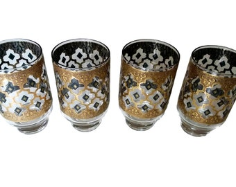 Vintage 1960s Rare Culver Seville Footed Tumblers / Glasses (Set of 4) / Gold and Blue / Diamond Pattern