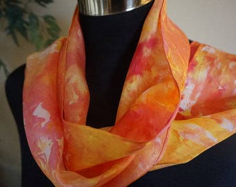 hand dyed silk scarf, ice-dyed silk scarf, hand dyed scarf, silk scarf, scarf, ladies  scarf, fashion scarf, fashion scarves, neck scarf