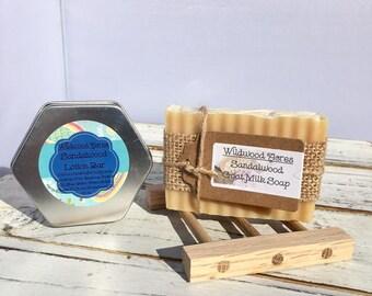 Sandalwood Goat Milk Soap & Lotion Bar with Oak Soap Dish: Gift Set