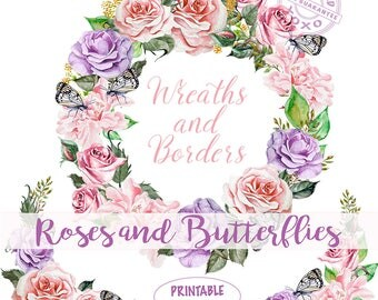 Floral Wreath watercolor, Rose borders, blush pink Flowers, Butterflies and Roses clipart, letter size border, flower arrangement download