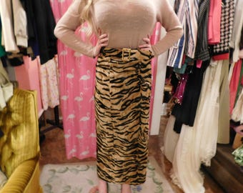 1980 High Waist pencil skirt  tiger  print faux