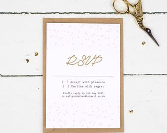 Wedding RSVP Card - Confetti - Wedding Stationery - Wedding Reply Card - Printed or DIY Printable Download - Personalised - Pink - Gold