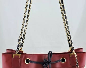 Authentic Chanel Red Tote handbag with CC chain- rare