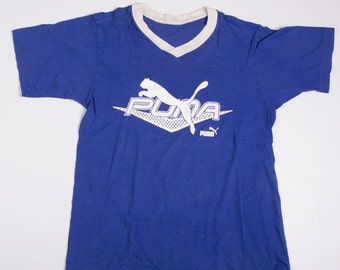 Vintage Puma V Neck 90s Logo Tshirt
