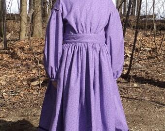 girl's sz.7 Civil War Era, Little house on the Prairie, American Girl books , 1800's Calico dress -Kirsten-READY-TO-SHIP