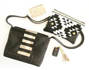 Messenger bag in black gold , Small cross body, shoulder bag , stripes, boho, leather bag, glam