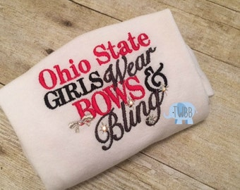 Ohio State Girls Wear Bows and Bling Onesie/Tshirt