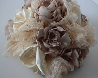 silk flowers bouquet , silk flower bouquet, beige bridal bouquet, beige bouquet