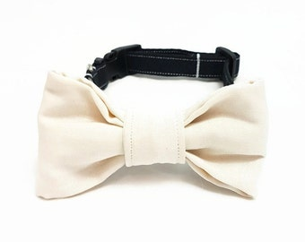 "Dog Collar with Bow Tie -""The big day""- Black/Cream White/Off White Dog Collar - Wedding Dog Bow Tie Collar - Festive Dog Collar"
