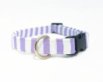 """Cat Collar  - """"Pastel Stripes"""" - Safety Buckle/Breakaway/Quick Release - Lilac/White - Spring Cat Collar - Cute Cat Collar - Soft Cat Collar"""