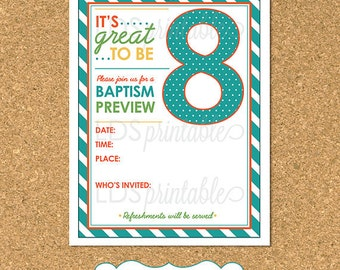 LDS Baptism - Great To Be Eight Baptism Preview for LDS Primary editable  Invite