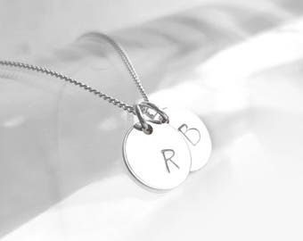 Two Discs Necklace, 925 Sterling Silver Initial Necklace, Curb Chain, Hand Stamped Pendant, Personalized Charm, Silver Jewelry