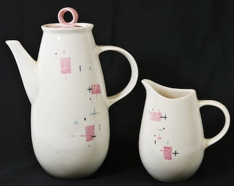 """Vtg 1950s Vernon Ware Pottery Tickled Pink 9 1/2"""" and 5 1/2"""" Pitcher/Jug"""