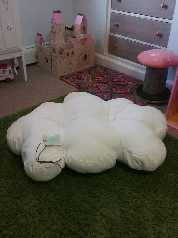 Tufted Floor Cushion, Pouf, Floor Pouf, Cotton Swiss Dot, 3 x 2 ft. Cloud cushion, pouff, White Cotton Cloud Cushion