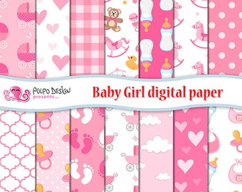 Baby Girl digital paper. Its a girl patterns, newborn scrapbook paper, seamless paper. Baby bottle, prams, pacifier rocking horse teddy bear