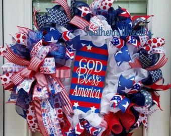 Reserved Cheryl/  God Bless America Wreath/ July 4th Door Wreath/ Red White Blue Wreath/ Patriotic Door Wreath/ Everyday Wreath