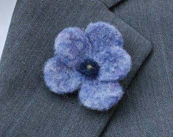 Blue Flower Boutonniere, Needle Felted -   Free Shipping