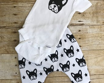 Boston Terrier pants and onesie ® or t shirt outfit, coming home outfit, newborn outfit, toddler outfits, infant outfit, shower gift