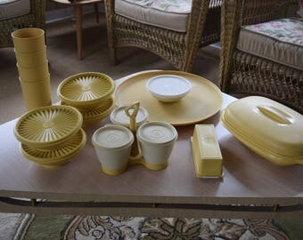 Harvest Gold Tupperware Lot Retro Wedding or Shower Gift