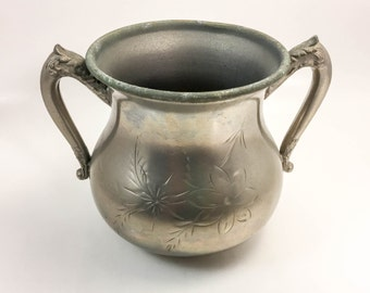 Vintage Etched Silver Sugar Caddy, Buckingham Heavy Silver Plate Small Urn